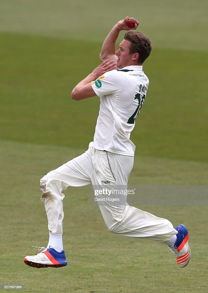 Jake Ball of Nottinghamshire bowls during the Specsavers County Championship division one match between Nottinghamshire and Yorkshire at the Trent Bridge on May 3, 2016 in Nottingham, England.
