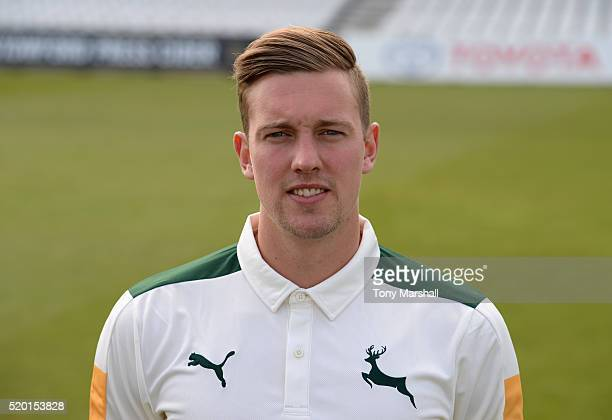 Jake Ball of Nottinghamshire CCC poses for a photograph during the Nottinghamshire CCC Photocall at Trent Bridge on April 8 2016 in Nottingham England