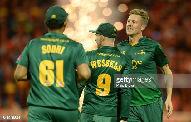 Jake Ball of Nottinghamshire celebrates after bowling Adam Hose of Birmingham during the Natwest T20 Blast Final match between Birmingham and...