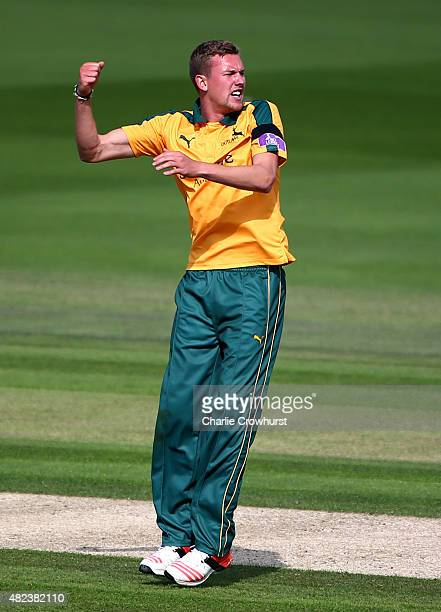 Jake Ball of Nottinghamshire celebrates after taking a wicket during the Royal London OneDay Cup match between Sussex and Nottinghamshire at The...