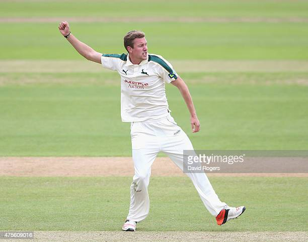 Jake Ball of Nottinghamshire celebrates after taking the wicket of Chris Nash during the LV County Championship match between Nottinghamshire v...