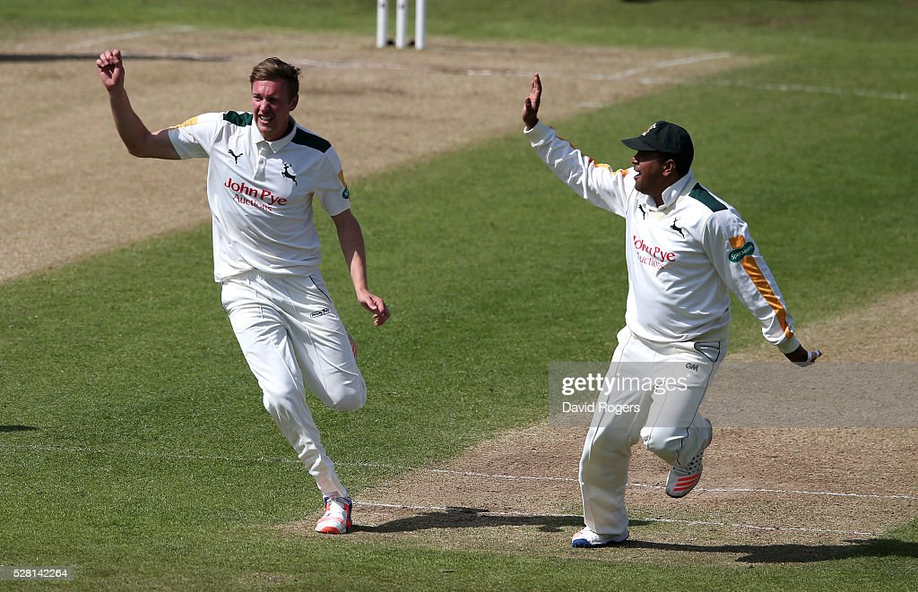 Jake Ball of Nottinghamshire celebrates after taking the wicket of <a gi-track='captionPersonalityLinkClicked' href=/galleries/search?phrase=Adam+Lyth&family=editorial&specificpeople=4444475 ng-click='$event.stopPropagation()'>Adam Lyth</a> during the Specsavers County Championship division one match between Nottinghamshire and Yorkshire at Trent Bridge on May 4, 2016 in Nottingham, England.