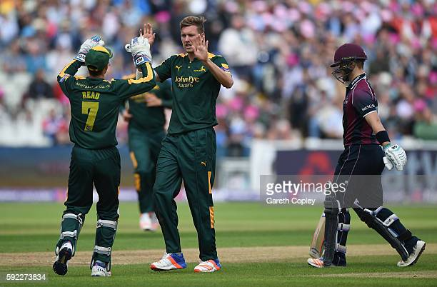 Jake Ball of Nottinghamshire celebrates dismissing Ben Duckett of Northamptonshire during the NatWest t20 Blast Semi Final between Northamptonshire...