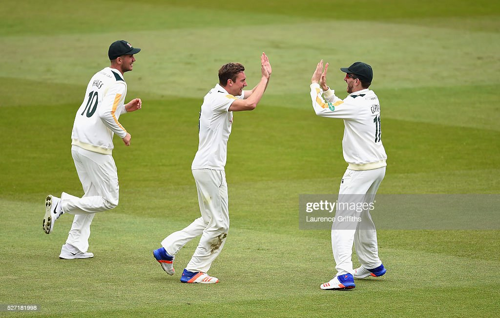 Jake Ball of Nottinghamshire celebrates the wicket of Joe Root of Yorkshire during the Specsavers County Championship Division One match between Nottinghamshire and Yorkshire at Trent Bridge on May 2, 2016 in Nottingham, England.