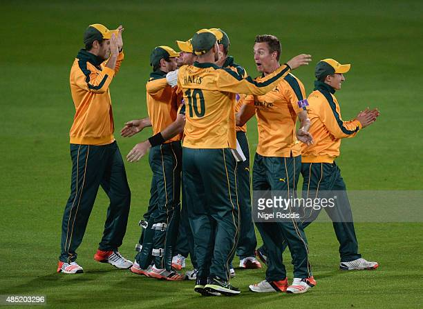 Jake Ball of Nottinghamshire celebrates with teamates after taking the wicket of Scott Borthwick of Durham during the Royal London OneDay Cup Quarter...