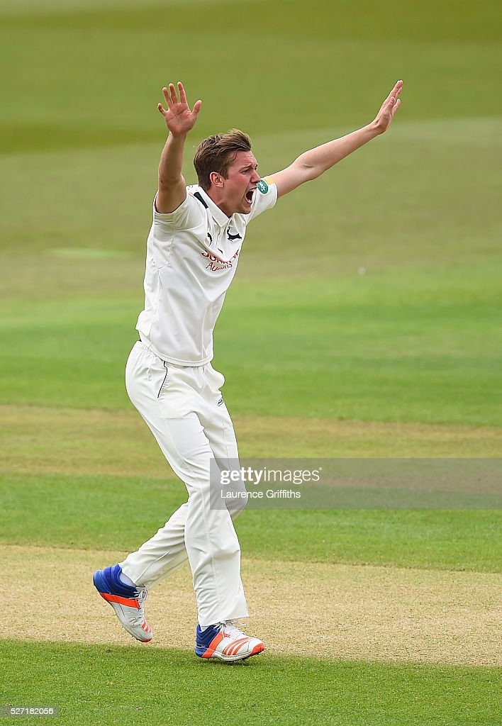 Jake Ball of Nottinghamshire claims the wicket of Adam Lyth of Yorkshire during the Specsavers County Championship Division One match between Nottinghamshire and Yorkshire at Trent Bridge on May 2, 2016 in Nottingham, England.