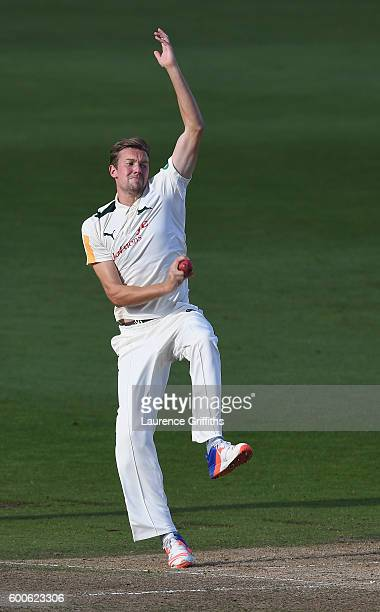 Jake Ball of Nottinghamshire in action during Day 3 of the LV County Championship match between Nottinghamshire and Middlesexat Trent Bridge on...