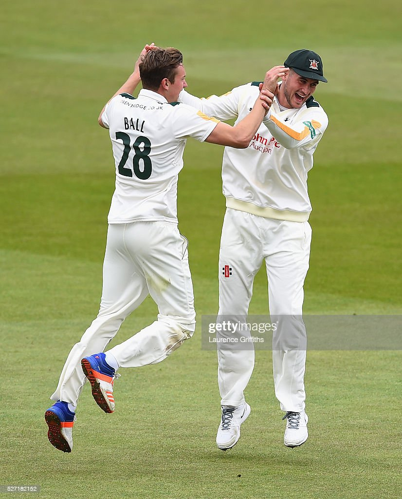 Jake Ball of Nottinghamshire is congratulated by <a gi-track='captionPersonalityLinkClicked' href=/galleries/search?phrase=Alex+Hales&family=editorial&specificpeople=5129140 ng-click='$event.stopPropagation()'>Alex Hales</a> on the wicket of Joe Root of Yorkshire during the Specsavers County Championship Division One match between Nottinghamshire and Yorkshire at Trent Bridge on May 2, 2016 in Nottingham, England.