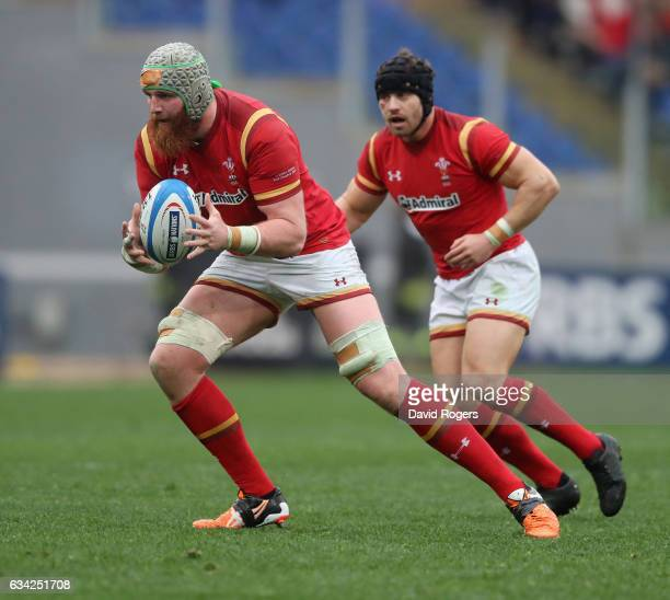 Jake Ball of Wales runs with the ball during the RBS Six Nations match between Italy and Wales at Stadio Olimpico on February 5 2017 in Rome Italy