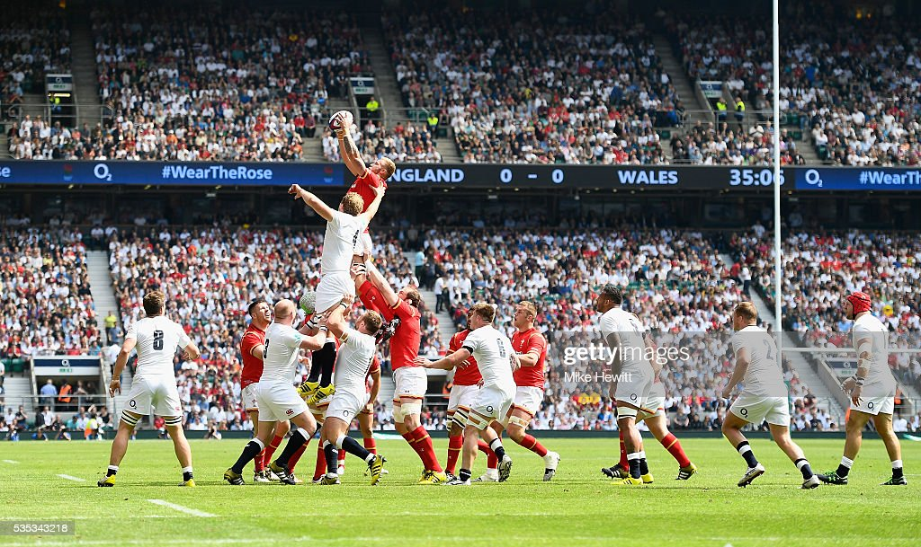 Jake Ball of Wales wins a lineout during the Old Mutual Wealth Cup between England and Wales at Twickenham Stadium on May 29, 2016 in London, England.