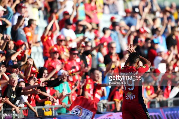 Jake BarkerDaish of Adelaide United celebrates with the crowd after the match during the round 10 ALeague match between Adelaide United and the...
