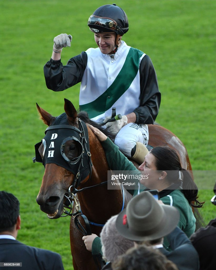 Jake Bayliss riding Extra Zero after winning Race 8, the Archer Hall of Fame Trophy during Melbourne Racing at Flemington Racecourse on May 20, 2017 in Melbourne, Australia.