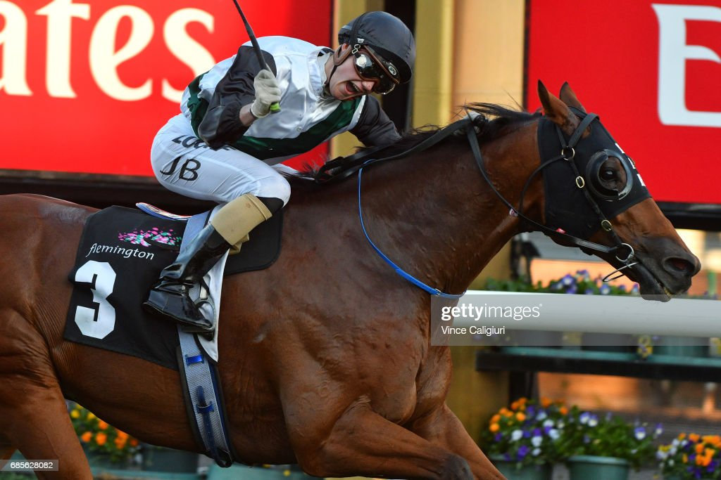 Jake Bayliss riding Extra Zero wins Race 8, the Archer Hall of Fame Trophy during Melbourne Racing at Flemington Racecourse on May 20, 2017 in Melbourne, Australia.