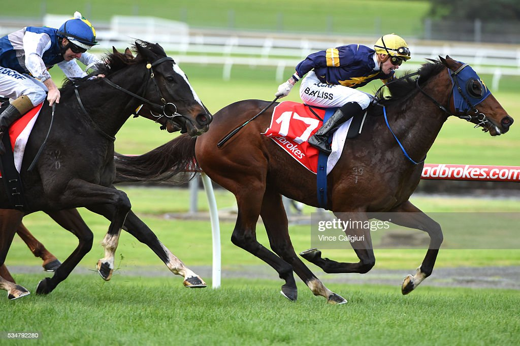 Jake Bayliss riding Lord Barrington wins Race 5 during Melbourne Racing at Sandown Lakeside on May 28, 2016 in Melbourne, Australia.