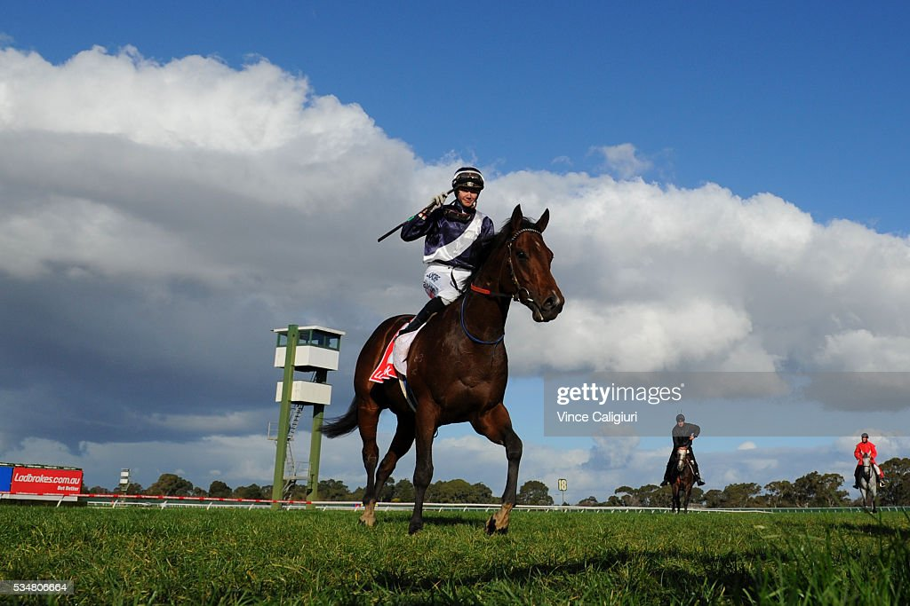 Jake Bayliss riding Tango Rock after wining Race 6 during Melbourne Racing at Sandown Lakeside on May 28, 2016 in Melbourne, Australia.