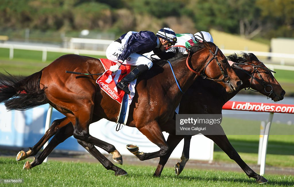 Jake Bayliss riding Tango Rock wins Race 6 during Melbourne Racing at Sandown Lakeside on May 28, 2016 in Melbourne, Australia.