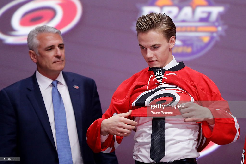 <a gi-track='captionPersonalityLinkClicked' href=/galleries/search?phrase=Jake+Bean&family=editorial&specificpeople=13782000 ng-click='$event.stopPropagation()'>Jake Bean</a> celebrates with the Carolina Hurricanes after being selected 13th during round one of the 2016 NHL Draft on June 24, 2016 in Buffalo, New York.