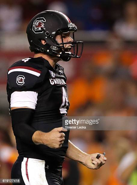 Jake Bentley of the South Carolina Gamecocks reacts after his team scores a touchdown against the Tennessee Volunteers during their game at...