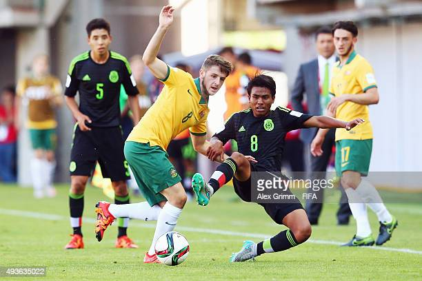 Jake Brimmer 8l9 of Australia is challenged by Pablo Lopez of Mexico during the FIFA U17 World Cup Chile 2015 Group C match between Australia and...
