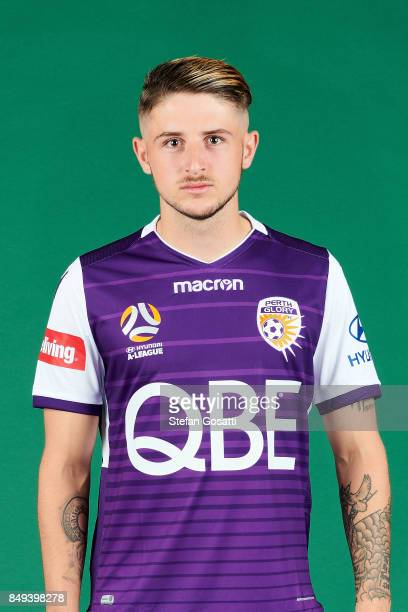 Jake Brimmer poses during the Perth Glory 2017/18 ALeague season headshots session on September 15 2017 in Perth Australia