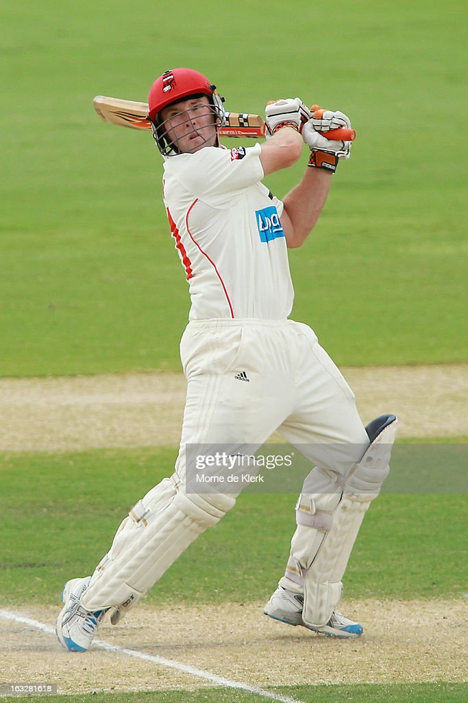 Jake Brown of the Redbacks bats during day one of the Sheffield Shield match between the South Australian redbacks and the Western Australia Warriors at Adelaide Oval on March 7, 2013 in Adelaide, Australia.