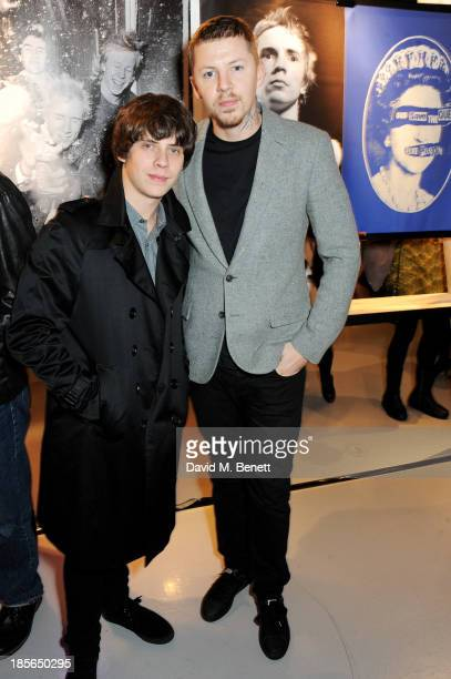 Jake Bugg and Professor Green attend a private view of the 'Virgin Records 40 Years Of Disruptions' exhibition at Victoria House on October 23 2013...