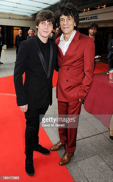 Jake Bugg and Ronnie Wood arrive at The Q Awards at The Grosvenor House Hotel on October 21 2013 in London England