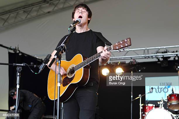 Jake Bugg performs on stage at Reading Festival at Richfield Avenue on August 23 2014 in Reading United Kingdom