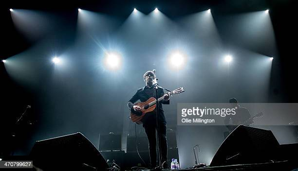 Jake Bugg performs on the opening night of his UK tour to a home city crowd on stage at Nottingham Capital FM Arena on February 20 2014 in Nottingham...