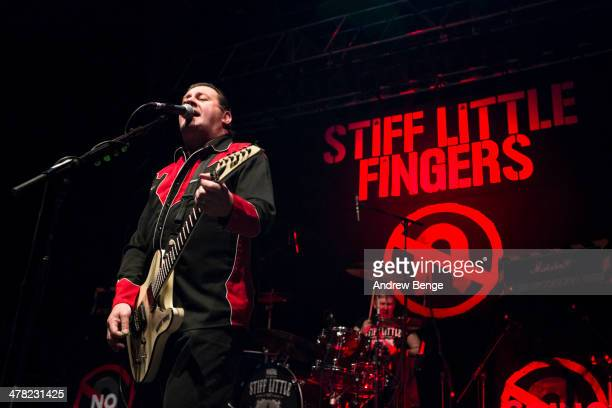 Jake Burns and Steve Grantley of Stiff Little Fingers perform on stage at O2 Academy on March 12 2014 in Leeds United Kingdom