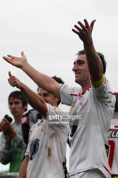 Jake Butler of Waitakere celebrates with the team after winning the ASB Premiership Final between Auckland City and Waitakere United at Trusts...