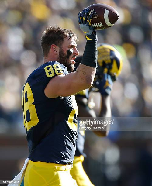 Jake Butt of the Michigan Wolverines between plays while playing the Illinois Fighting Illini on October 22 2016 at Michigan Stadium in Ann Arbor...