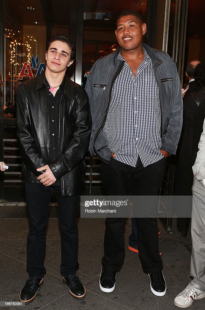 Jake Cannavale (L) and Omar Benson Miller attend 'The Big Knife' Broadway opening night at American Airlines Theatre on April 16, 2013 in New York City.