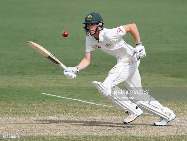 Jake Carder of CA XI bats on day 3 of the four day tour match between Cricket Australia XI and England at Tony Ireland Stadium on November 17 2017 in...