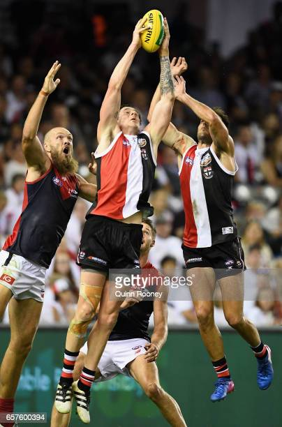 Jake Carlisle of the Saints marks during the round one AFL match between the St Kilda Saints and the Melbourne Demons at Etihad Stadium on March 25...