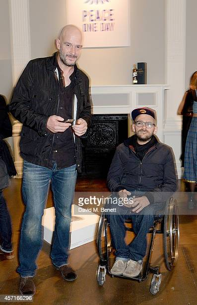 Jake Chapman and Ryan Gander attend the M16 Private View curated by Jake Chapman in support of Peace One Day at the Institute Of Contemporary Arts on...