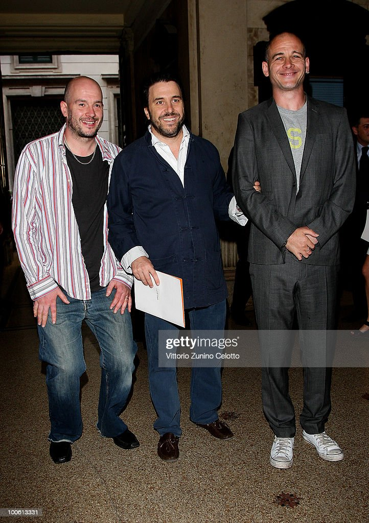 Jake Chapman, Emanuele Bonomi and Dinos Chapman attend the Jake And Dinos Chapman Opening At The ProjectB Gallery on May 25, 2010 in Milan, Italy.