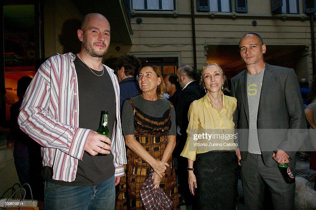 Jake Chapman, Miuccia Prada, Franca Sozzani, Dinos Chapman attend the Jake And Dinos Chapman Opening At The ProjectB Gallery on May 25, 2010 in Milan, Italy.