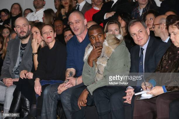 Jake Chapman Rose Mary Ferguson Tiphaine Dino Chapman Kanye West and Michael Burke attend the Louis Vuitton Men Autumn / Winter 2013 show as part of...