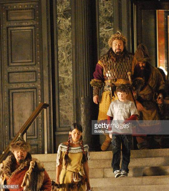 Jake Cherry and Mizio Peck return as Nick Daley and Sacagawea for 'Night at the Museum 2' at The Museum of Natural History on August 19 2008 in New...
