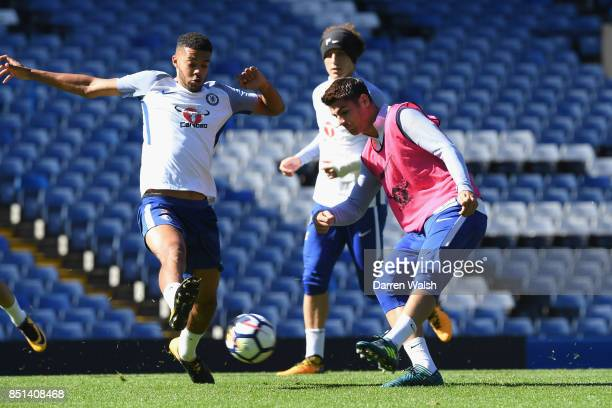 Jake ClarkeSalter and Alvaro Morata of Chelsea during a training session at Stamford Bridge on September 22 2017 in Cobham England