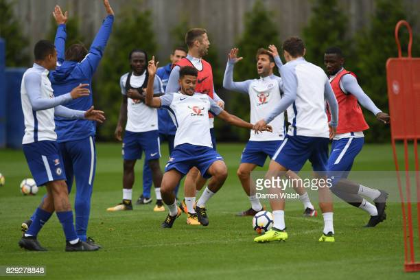 Jake ClarkeSalter and Antonio Rudiger of Chelsea during a training session at Chelsea Training Ground on August 10 2017 in Cobham England