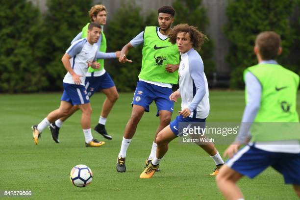 Jake ClarkeSalter and David Luiz of Chelsea during a training session at Chelsea Training Ground on September 4 2017 in Cobham England