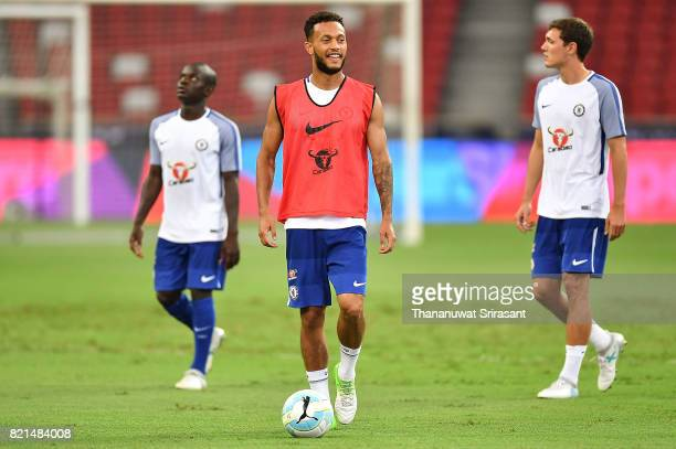 Jake ClarkeSalter of Chelsea FC smiles during a Chelsea FC International Champions Cup training session at National Stadium on July 24 2017 in...