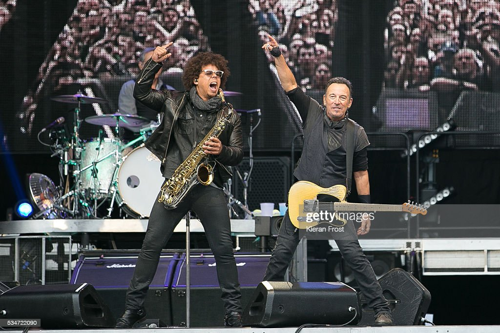 Jake Clemons and Bruce Springsteen performs with the E Street Band at Croke Park Stadium on May 27, 2016 in Dublin, Ireland.