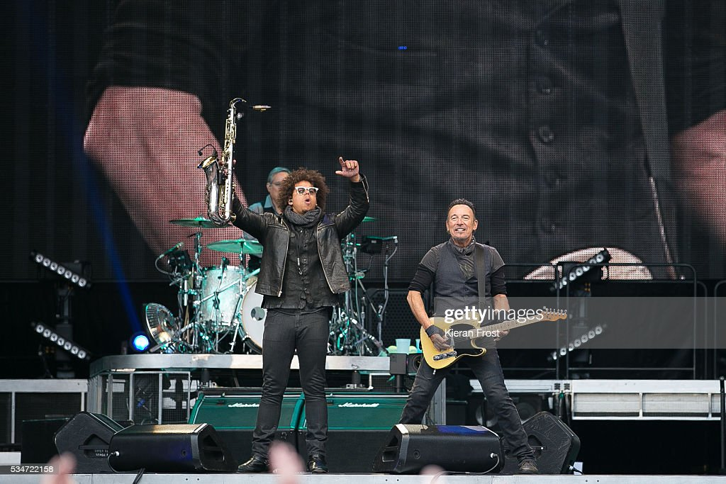 Jake Clemons and <a gi-track='captionPersonalityLinkClicked' href=/galleries/search?phrase=Bruce+Springsteen&family=editorial&specificpeople=123832 ng-click='$event.stopPropagation()'>Bruce Springsteen</a> performs with the E Street Band at Croke Park Stadium on May 27, 2016 in Dublin, Ireland.