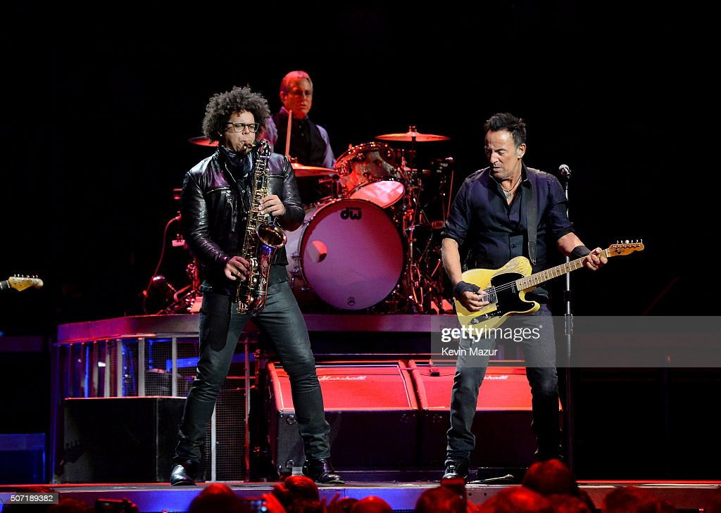 Jake Clemons, Max Weinberg and Bruce Springsteen perform at Madison Square Garden on January 27, 2016 in New York City.