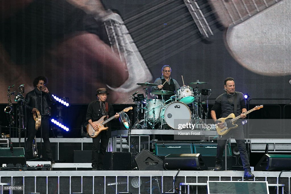 Jake Clemons, Nils Lofgren, Max Weinberg and Bruce Springsteen performs with the E Street Band at Croke Park Stadium on May 27, 2016 in Dublin, Ireland.