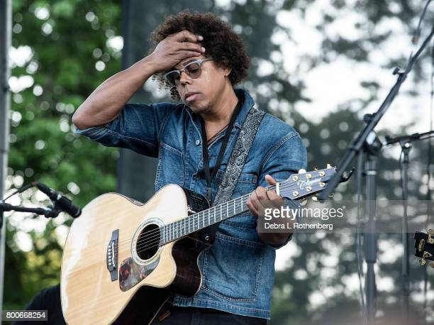 Jake Clemons performs at the RocklandBergen Music Festival at German Masonic Park on June 24 2017 in Tappan New York