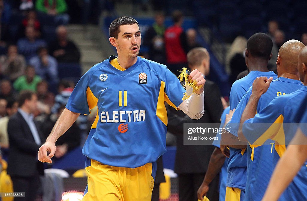 Jake Cohen, #11 of Maccabi Electra Tel Aviv during the presentation before the 2013-2014 Turkish Airlines Euroleague Regular Season Date 4 game between Lietuvos Rytas Vilnius v Maccabi Electra Tel Aviv at Siemens Arena on November 7, 2013 in Vilnius, Lithuania.